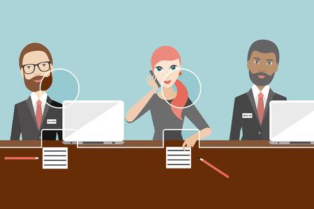 Employees, jobholders clerk in a bank. Flat vector. Vetores