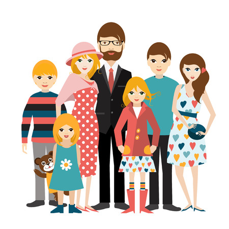 family man: Big family with many children. Man and woman in love, relationship. Flat vector. Illustration
