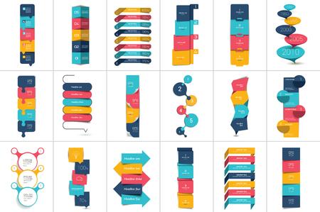 Mega conjunto de Opción paso a paso horario vertical, pestaña, bandera, bar. Diseño del vector de infografía. Ilustración de vector