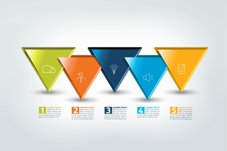One, two, three, four, five steps template, timeline. Step by step infographic. Vector. Ilustrace