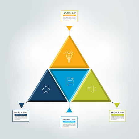 vector illustration: Triangle, 4 step infographic, chart. Vector illustration. Illustration