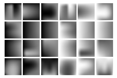 filtered: Set of black and white vector gradient, blur backgrounds.