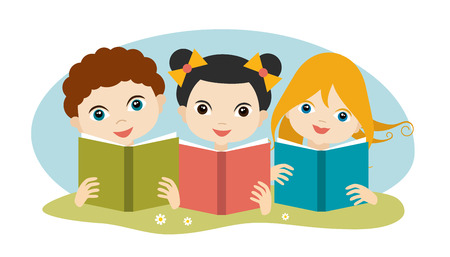 niÑos con libros: Book concept. Little cute group of three children reading a books sitting on the grass. Flat vector.