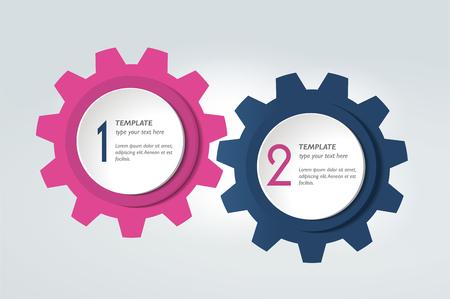 Zwei Elemente Schema, Diagramm. Infografische Duo-Vorlage. Verschiedene Farbbanner. Vektorgrafik