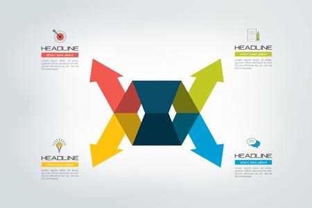 Arrow concept. 4 arrows divided. Template, scheme, diagram, chart, graph, presentation. Business concept with 2 steps, options, processes.