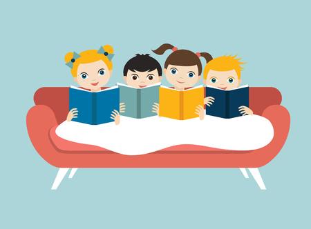 niños sentados: Poco lindo grupo de tres niños que leen un libros sentado en el sofá. vector plana. Vectores