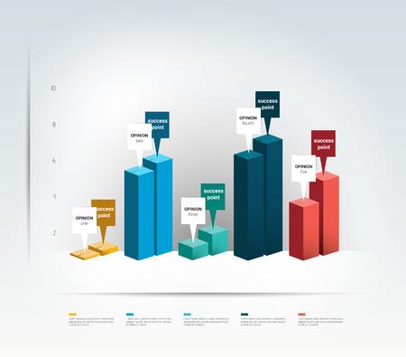 유행: 3D design graph. Infographics chart.