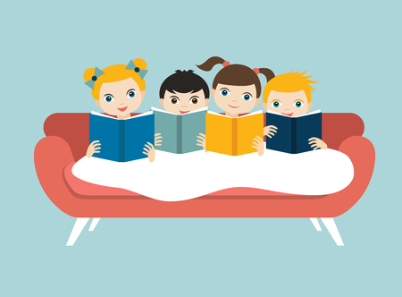 niÑos con libros: Little cute group of three children reading a books sitting on the sofa. Flat vector.
