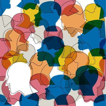 Naadloos patroon van een menigte van vele verschillende hoofden van het mensenprofiel. Vector achtergrond. Stock Illustratie