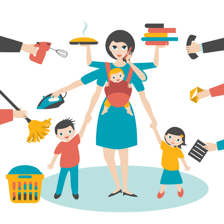 Multitask woman. Mother, businesswoman with children and baby in sling, ironing, working, cooking and calling.