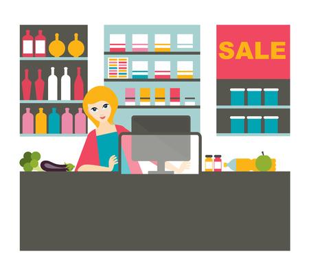 mujer en el supermercado: Atractive cashier woman working  with smile in the supermarket. Vectores