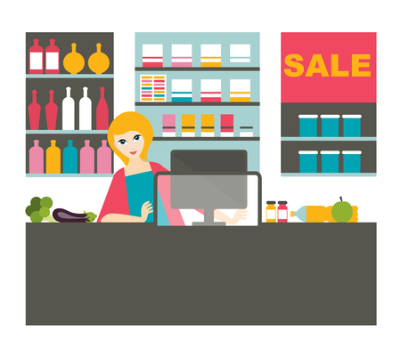 Atractive cashier woman working  with smile in the supermarket. Illustration