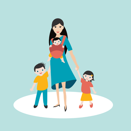Young mother walking with children, son and daughter and new born baby in a baby carrier, sling. Illustration