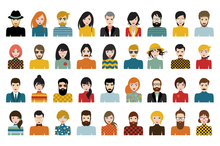 Mega set of persons, avatars, people heads  different nationality in flat style. Vector. Reklamní fotografie - 78944113