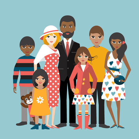 Mixed race family with 5 children. Cartoon ilustration, vector. Ilustrace