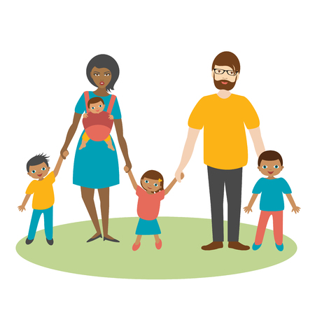 mixed family: Mixed race family with three children. Cartoon ilustration, vector.