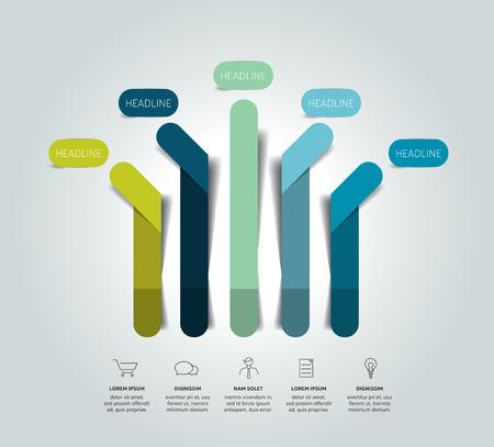 Schema di infografica freccia, diagramma di flusso, modello, grafico. Vettore.