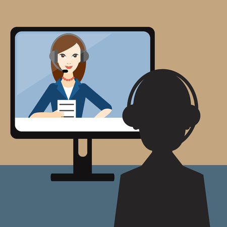 Video Job interview. Officer and candidate. Flat vector ilustration.