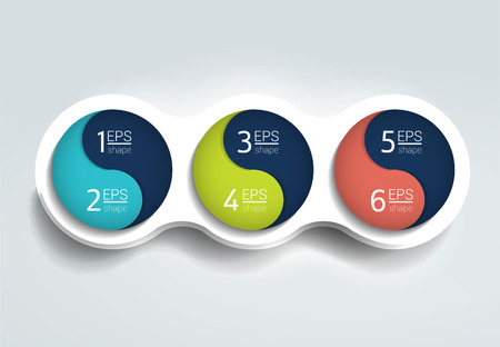 synchronize: Three steps elements bubble chart, scheme, diagram, template. Infographic template.