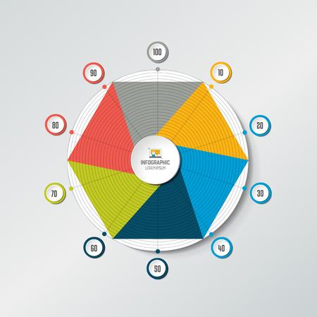 Circle radar, spider net chart, graph. Infographics element. Illustration