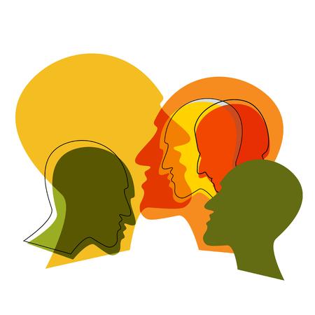 Concetto di schizofrenia, simbolo di depressione, demenza. Illustrazione vettoriale.