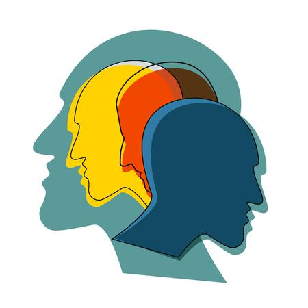Concept de schizophrénie, symbole de dépresion, démence. Illustration vectorielle