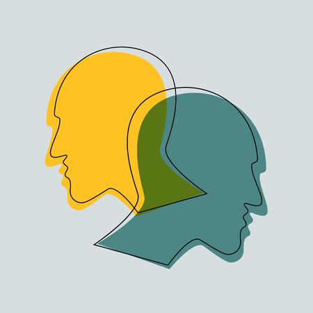 Schizophrenie-Konzept, Symbol der Depresion, Demenz. Vektorillustrationen.