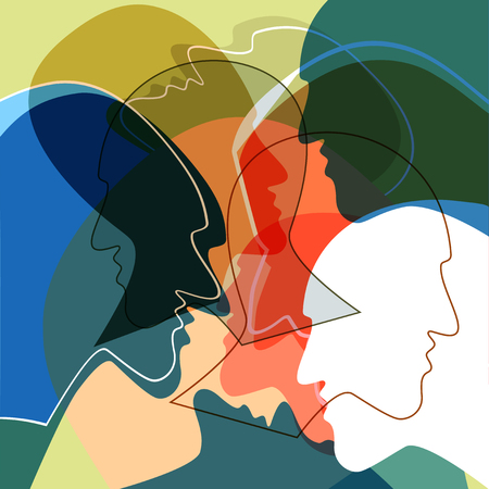Heads people concept, symbol of communication between people. Vector ilustration. Zdjęcie Seryjne - 88536297