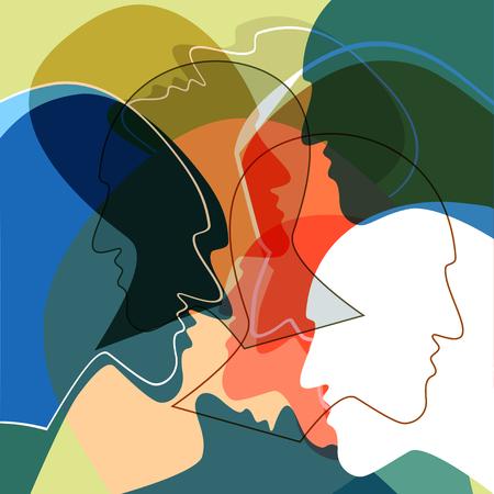 Köpfe Menschen Konzept, Symbol der Kommunikation zwischen den Menschen. Vektorillustrationen. Vektorgrafik
