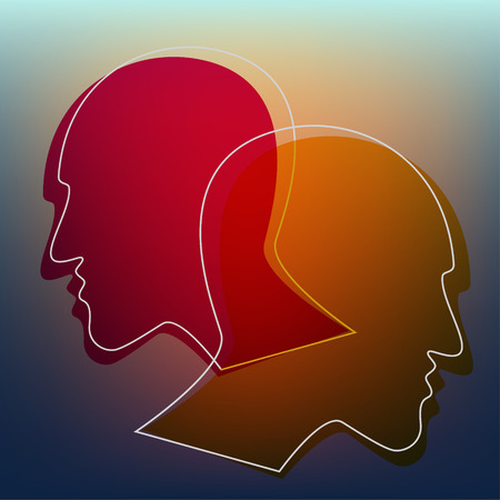 Schizofrenie concept, symbool van depressie, dementie. Vector illustratie.