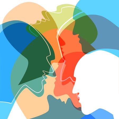 Concepto de personas cabezas, símbolo de la comunicación entre las personas. Ilustración del vector.