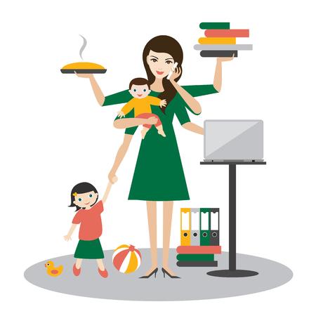 Mujer multitarea. Madre, mujer de negocios con bebé, niño mayor, trabajando, coocking y vocación. Vector plano