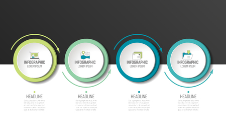 Circle, round chart, scheme, timeline, infographic, numbered template, option template. 4 steps.