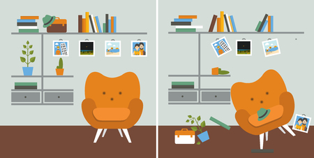Tidy und untidy room. Living room with armchair and book shelves. Flat design vector illustration.  Ilustrace