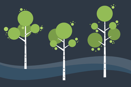 Tree birch in springtime, summer. Night landscape Vector stylized. 일러스트