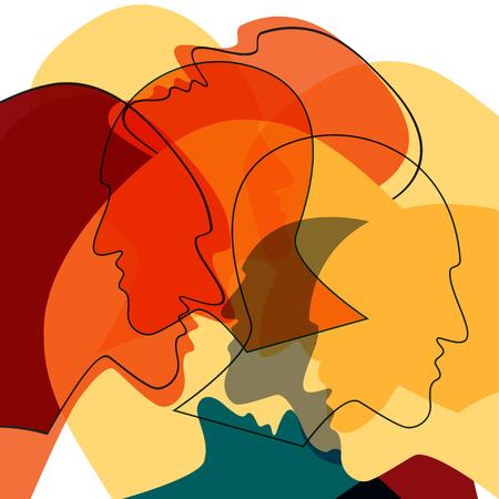 Concept de personnes de têtes, symbole de la communication entre les personnes. Illustration vectorielle.