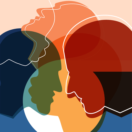 People silhouettes, adult and child. Vector ilustration.