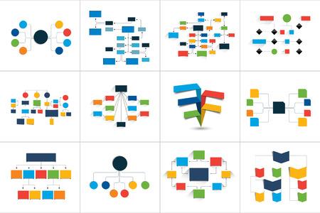 Mega set of various flowcharts schemes, diagrams. Simply color editable. Info-graphics elements. Vettoriali