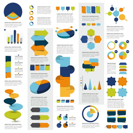 Mega set of info-graphics elements charts, graphs, circle charts, diagrams, speech bubbles. Flat and 3D design. Vector illustration.