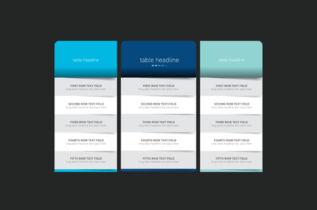 Pricing table design template for business. Vector.