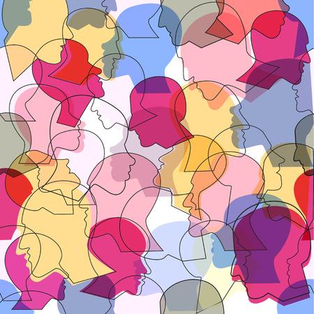 Nahtloses Muster einer Menge von Profilköpfen vieler verschiedener Leute. Vektorhintergrund. Vektorgrafik