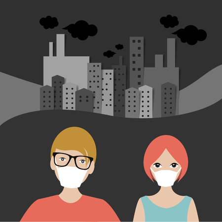 People in mask in Polution City, town panorama. Illustration