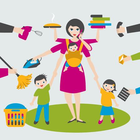 Mujer multitarea. Madre, mujer de negocios con niños y cabestrillo bab yin, planchar, trabajar, cocinar y llamar.