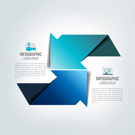 Two arrows in different direction infographic, chart, scheme, diagram. Illustration