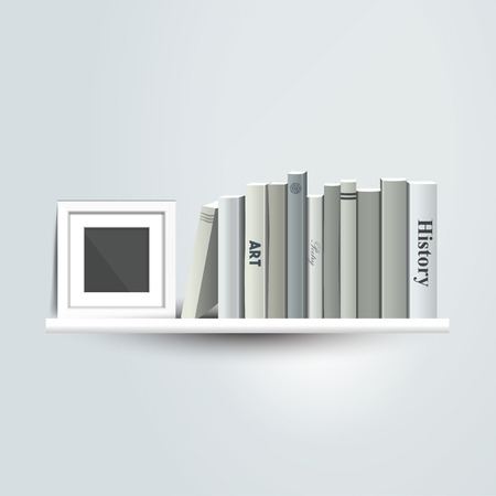 Photoframe mock up on the bookshelf. Template for poster, picture, painting. Vector.