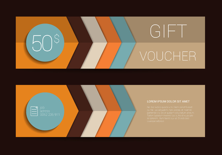 Color gift voucher template. Simply flat modern design. Zigzag vector background. Illustration