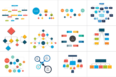 Mega set of various  flowcharts schemes, diagrams. Simply color editable. Infographics elements.