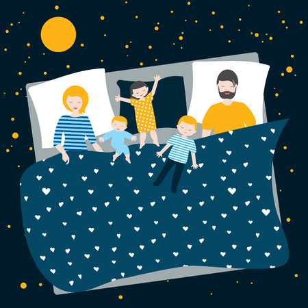 Family of parents and three children sleeping together in bed. Flat  cartoon llustration. Illustration