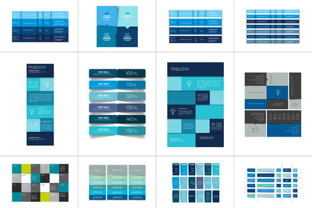 Große Reihe von Tabellen, Zeitplänen, Bannern. Schritt für Schritt Infografik. Vektorgrafik