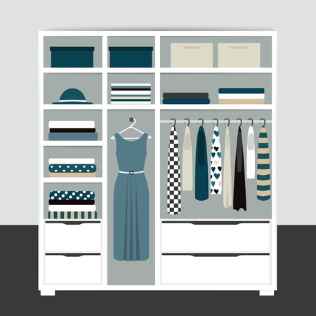 Capsule minimalistic open wardrobe. Wooden closet with tidy clothes, shirts, sweaters, boxes and shoes. Home interior. Flat design vector illustration.